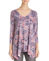 Nally And Millie Paisley Print Handkerchief Tunic Purple