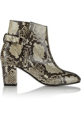 Newbark Sabrina Glossed Snake Effect Leather Ankle Boots Multi
