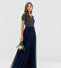 Maya Bridesmaid V Neck Maxi Tulle Dress With Tonal Delicate Sequins Navy