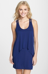 Bcbgeneration 'Cool As Ice' Double Layer Racerback Cover Up Dress Navy