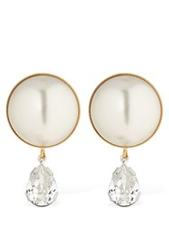 Ca And Lou Clementina Pearl Crystal Earrings Cream