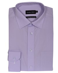 Double Two Men's King Size Long Sleeve Non Iron Poplin Shirt Lilac