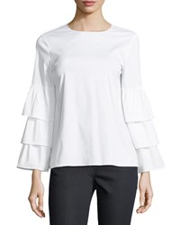 Lafayette 148 New York Revina Ruffle Sleeve Poplin Blouse White