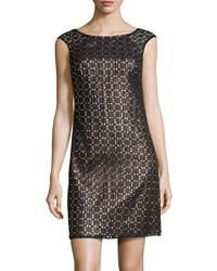 Phoebe Couture Sleeveless Grid Cocktail Dress Black Multi