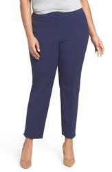 Sejour Plus Size Women's Straight Leg Ankle Pants Navy Peacoat