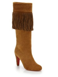 Christian Louboutin Majung 85 Veau Suede Knee High Boots Beige
