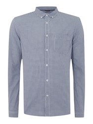 Linea Ariel Micro Check Long Sleeved Shirt Blue