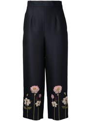 Vilshenko Embroidered Flower Cropped Trousers Black