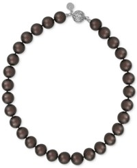 Majorica Silver Tone Dark Imitation Pearl Collar Necklace Brown
