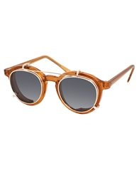 Spitfire Round Sunglasses With Removable Lens Brown
