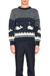 Thom Browne Whale Icon Jacquard Pullover Sweater In Blue Animal Print Blue Animal Print