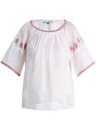 Jupe By Jackie Sazerac Embroidered Cotton Organdy Top White