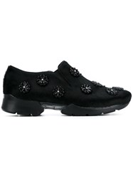 Simone Rocha Embellished Calf Hair Sneakers Black