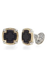 Konstantino 'S Ares Square Cuff Links Silver Gold Onyx