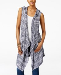 Inc International Concepts Hooded Draped Duster Vest Only At Macy's Vendor Blue