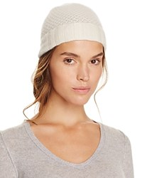 Bloomingdale's C By Waffle Knit Cashmere Hat Ivory