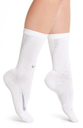 Nike Women's Elite Crew Socks White Wolf Grey Metallic