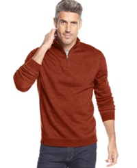 John Ashford Solid Quarter Zip Pullover Royal Orange