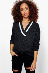 Boohoo Plunge V Neck Sports Rib Fisherman Jumper Charcoal