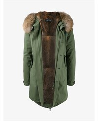 Yves Salomon Raccoon Fur Trimmed Parka Olive Salmon Grey