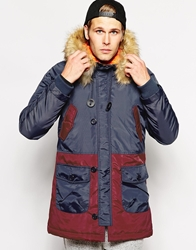 Another Influence Parka With Faux Fur Hood Navy