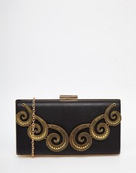 Chi Chi London Chi Chi Box Clutch With Gold Swirl Embroidery Black