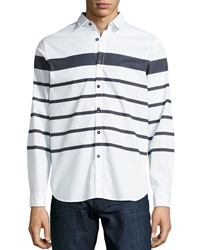Howe Hideaway Striped Long Sleeve Shirt White