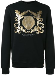 Billionaire Metallic Print Sweatshirt Black