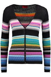 Missoni Textured Crochet Knit Cotton Blend Cardigan Multi