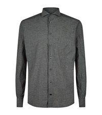 Eton Hounds Tooth Cotton Shirt Male Grey