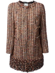Weill Bottom Fringe Detailed Tweed Coat Pink And Purple