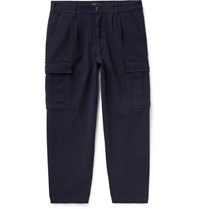 Barena Navy Trato Cropped Tapered Cotton Blend Twill Cargo Trousers Navy