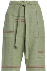 J.W.Anderson Woman Tie Front Patchwork Linen Shorts Light Green
