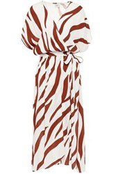 Charli Woman Nisha Wrap Effect Zebra Print Crepe De Chine Midi Dress Ivory