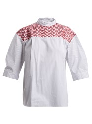 Jupe By Jackie Chao Embroidered Striped Cotton Top White Multi