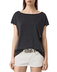 Allsaints Cotton Slashed Back Tee Black