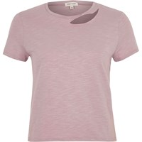 River Island Womens Light Purple Slash Neck Fitted T Shirt
