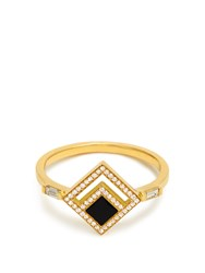 Azlee Eclipse Diamond Enamel And Yellow Gold Ring