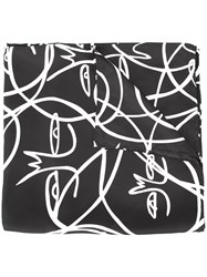 Haculla Abstract Face Print Scarf Black