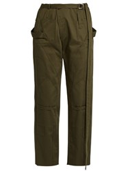 Balenciaga Panelled Cotton Drill Trousers Khaki