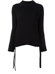 Frame Denim Collared String Detail Jumper Black