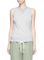 Bassike Drawstring Hem Organic Cotton Tank Top Grey
