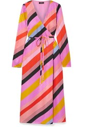 Stine Goya Striped Silk Jacquard Wrap Dress Multi