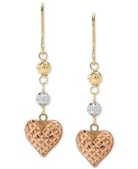 Macy's Tricolor Heart And Bead Drop Earrings In 10K Gold White Gold And Rose Gold
