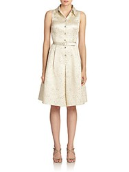 Teri Jon By Rickie Freeman Jacquard Satin Belted Shirtdress Ivory