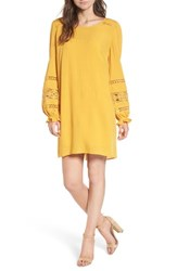 Hinge Lace Trim Puff Sleeve Shift Dress Yellow Mineral