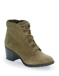 Anne Klein Kadey Lace Up Suede Booties Olive