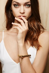 Forever 21 Amber Sceats Lock Bangle Gold