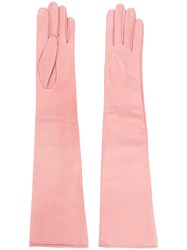 Manokhi Long Gloves Pink And Purple
