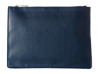Mighty Purse Vegan Leather Three Tone Charging Clutch Navy Tan Ivory Fold Clutch Handbags Blue